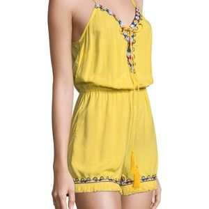 Pia Pauro Pants - PIA PAURO Blazing Yellow Embroidered ROMPER